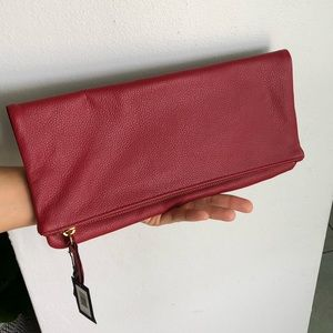 Banana Republic red leather clutch